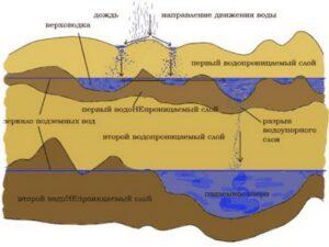Горизонты грунтовых вод со свободной поверхностью залегают на ближайшем от поверхности земли водоупорном слое.